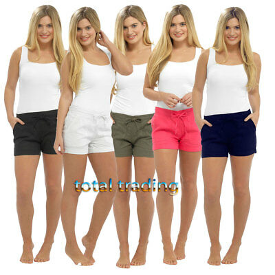 WOMENS  LADIES CASUAL LINEN SHORTS  BEACH WEAR IN SIZES  SUMMER HOLIDAYS ln586