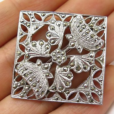 Vtg 925 Sterling Silver Real Marcasite Gem Floral Square Pin Brooch