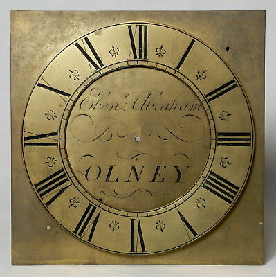 Excellent Antique 18Thc Brass Georgian Longcase Clock Dial Olney Buckinghamshire