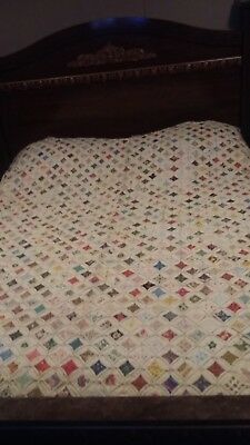 Amazing Vintage Cathedral Window Stained Glass Hand Made Quilt 100 X 75 Huge