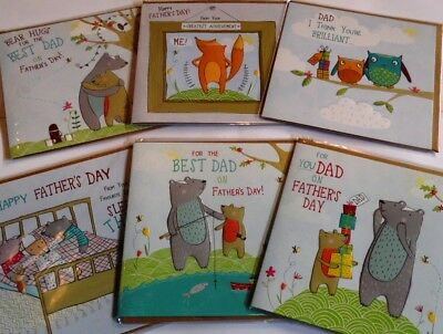 FATHER'S DAY SUPERB CARDS x 72,JUST 30p! 'FOREST FRIENDS' 12 DESIGNS-WRAPPED