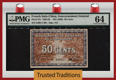 TT PK 87c ND (1939) FRENCH INDO-CHINA 50 CENTS PMG 64 CHOICE UNCIRCULATED!