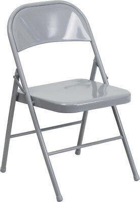 Lot Of 20 Hercules Series Double Braced Gray Metal Folding Chair