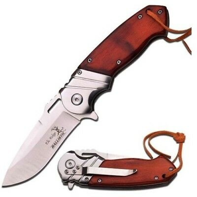 Elk Ridge A003SW Wood Assisted Folding Tactical Pocket Knife + Leather Lanyard