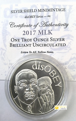 disOBEY Martin Luther King by Silver Shield Mini Mintage 1 oz Silver With COA