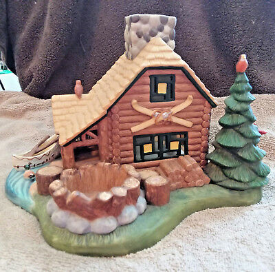 "Woodsy Country Log Cabin ""GONE FISHING"" Tea Light Candle Decor by Partylite"