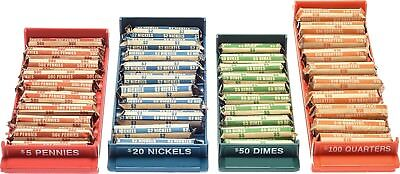 Nadex Rolled Coin Storage Organizer Tray Set with Ridges for Loose Coins |...
