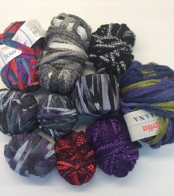 Destash Yarn Lot Tape Mode Dea Ticker Katia Triana Novelty Purple Silver Red