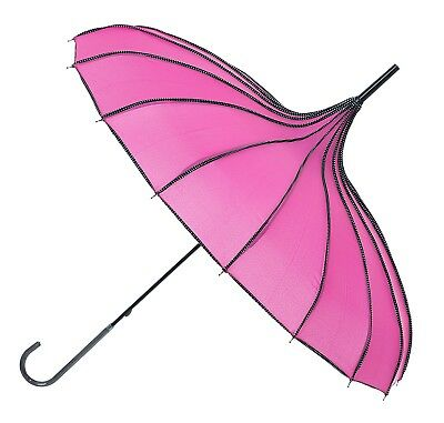 Blooming Brollies Boutique Polka Dot Ribbed Pagoda Stick Umbrella - Rose Red