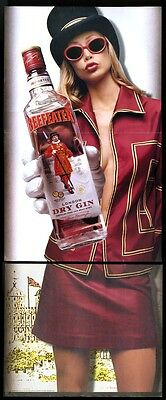 2001 Beefeater gin sexy open shirt mini skirt woman photo print ad