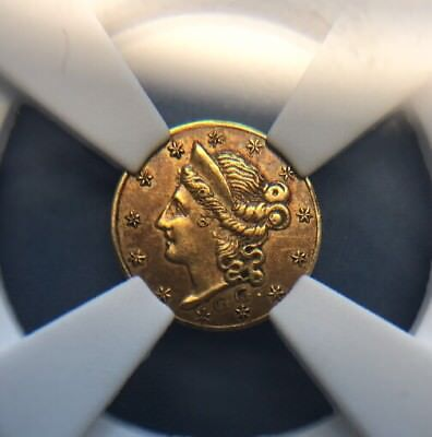 1853 25c California Gold Piece BG-218 NGC AU-58 10 Known Gaime & Guillemot