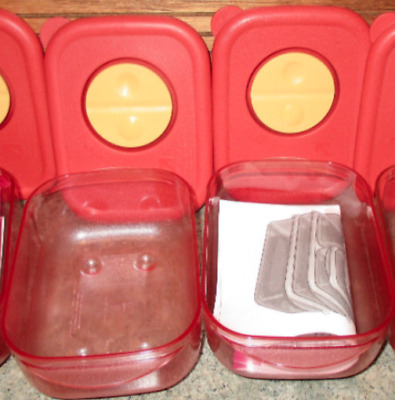 2 Tupperware Rock N Serve #3387 Vented 1 Cup Container w/Cinnamon Lids NOS