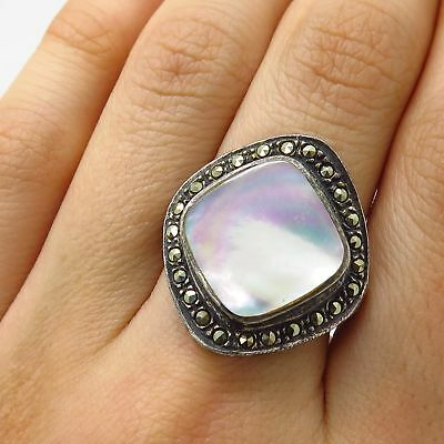 Vintage 925 Sterling Silver Mother-Of-Pearl Marcasite Gem Wide Ring Size 7