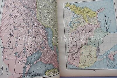 1893 antique CENTRAL SCHOOL SUPPLY ATLAS of the WORLD includes INDIAN TERRITORY