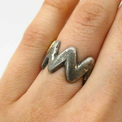 Antique France Signed Sterling Silver Wide Ring Size 5.5
