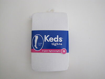 NWT KEDS Girls Size S 4-6 2 Pack White Sparkle & Plain White Tights MSRP $10.00