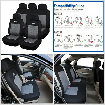 Universal Breathable Black+Gray 5-Seats Sports Car Seat Covers Protector Cushion