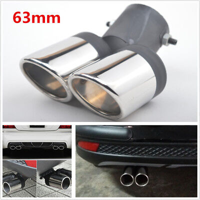 Twins Rear Bent Car Exhaust Dual Pipe Chrome Muffler Tip Tailpipes Cover Durable