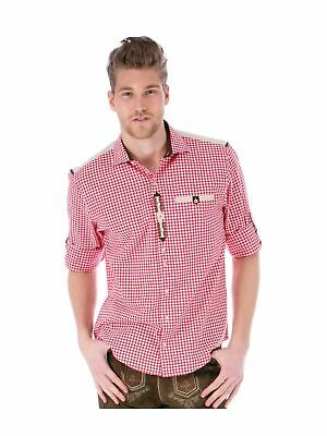 Orbis Traditional Costume Checkered Shirt Roll-Up Sleeves Cyril Red