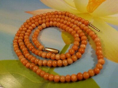 Antique European Natural Red Salmon Coral Bead Strand 19 3/4 Inch Necklace