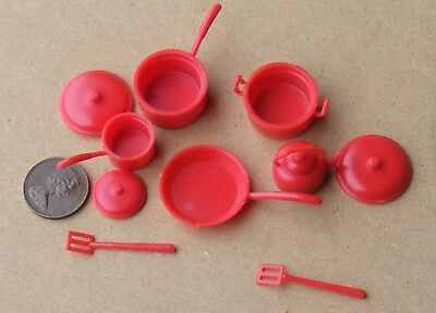 1:12 Scale Red Plastic Kitchenware Set Tumdee Dolls House Kitchen Accessory