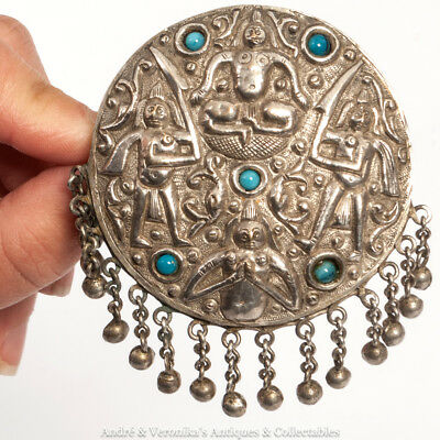 Antique Bedouin Middle Eastern repoussé Silver Brooch Turquoise Unusual Motifs