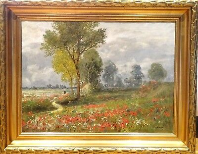 Large Early 20th Century French Impressionist Poppy Field Landscape Oil Painting