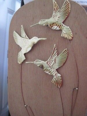 SET OF 3 HOME INTERIORS GOLD METAL BIRD WALL HANGING PLAQUES Forks, 1240-BL.