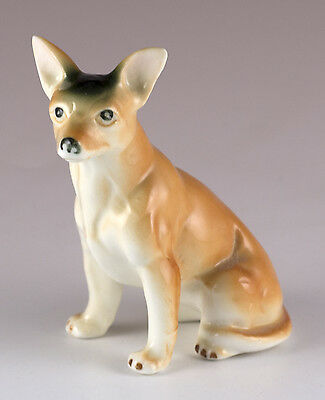 "Vintage Bone China Sitting Chihuahua Dog Figurine 3"" High Glossy"