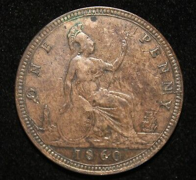1860 Great Britain Penny - Raised Lines on Shield