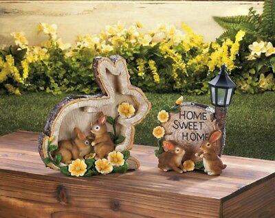 Set of 2 Solar Home Sweet Home Bunnies & Silhouette Rabbit Garden Figures