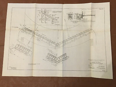 1912 Panama Canal Diagram Mitering Lock Gates General Drawing of Sill on Masonry