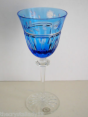 "1 Ajka Prionnseas Azure Blue Cased Cut To Clear 6 1/2"" Crystal Wine Apertif"