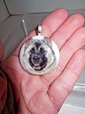 Keeshond Milk Glass, Hand-Painted Pendant, Artisan-Crafted, Pewter Bail, NWOT