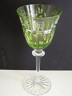 "1 Ajka Prionnseas Lime Peridot Cased Cut To Clear 6 1/2"" Cordial Wine Apertif"