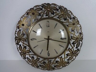 Vintage Metamec Wall Clock Round Brass Flower Detail Battery Operated Gold