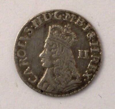 1660 - 1685 not dated England silver 2 Pence CHARLES II coin