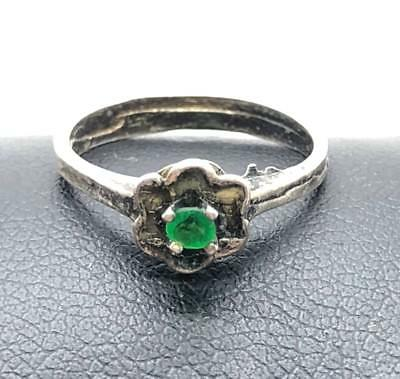 Vintage Style Sterling Silver 925 Oxidized Green Emerald Pinky Cocktail Ring 1.5