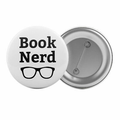 "Book Nerd - Badge Button Pin 1.25"" 32mm Books Lover Reading Book Club"