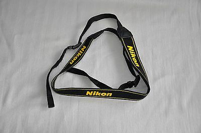 NIKON BLACK/YELLOW W 34mm GENUINE SHOULDER NECK STRAP FOR DSLR CAMERA USED