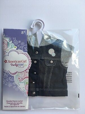 "* AMERICAN GIRL 18"" JACKET Hooded Denim with Hanger for doll - NEW IN BAG NIB"