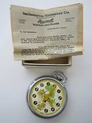 Vintage BOXED W PAPER Official Ingersoll Boy Scout Pocket Watch Be Prepared NR !
