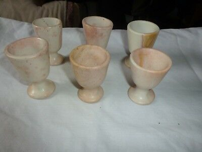Vintage 6 x Soapstone Carved Egg Cups Mini Goblets  Approx. 7.5 cm High
