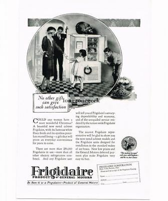 1926 Frigidaire Refrigerator Christmas Woman Blindfolded art Vtg Print Ad