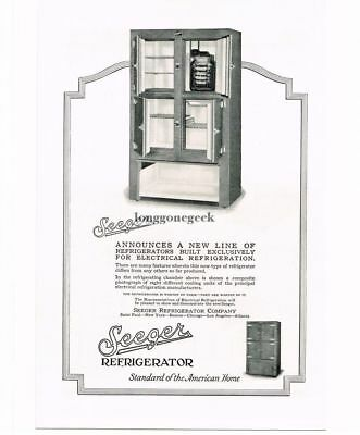 1926 Seeger Refrigerator Co. Steel Case New Electrical Fridge Vtg Print Ad