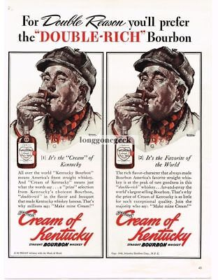 1940 Cream of Kentucky Bourbon Whiskey Norman Rockwell art Vtg Print Ad #2