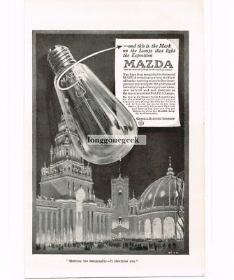 1915 GE General Electric Mazda Lamp Light Bulb Panama Pacific Expo Vtg Print Ad
