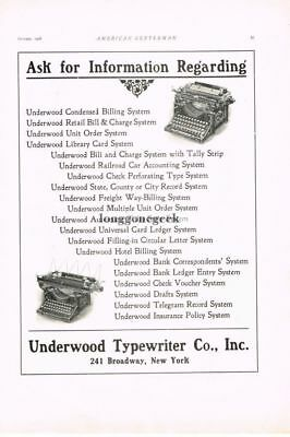 1908 Underwood Typewriter Vtg Print Ad