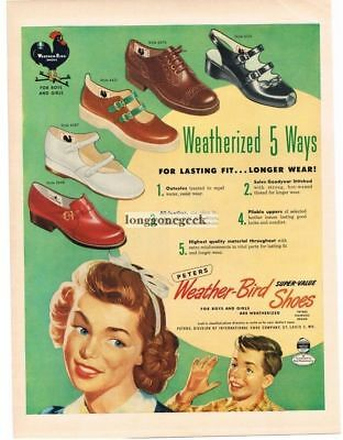 1950 Peters Weather-Bird Shoes for Boys and Girls Children art Vtg Print Ad