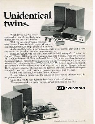 1972 GTE Sylvania Compact and Component Stereo System Vtg Print Ad